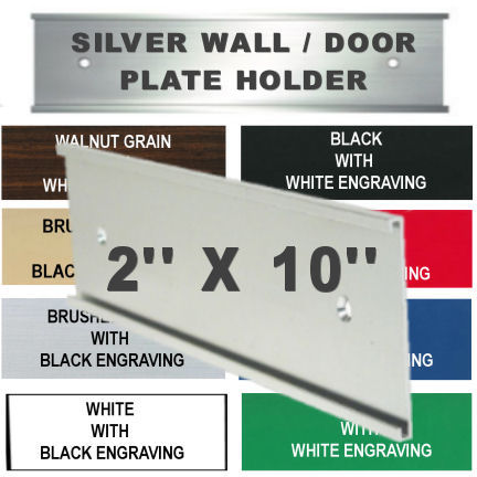 name plate holder for wall or door 2x 10 silver metal