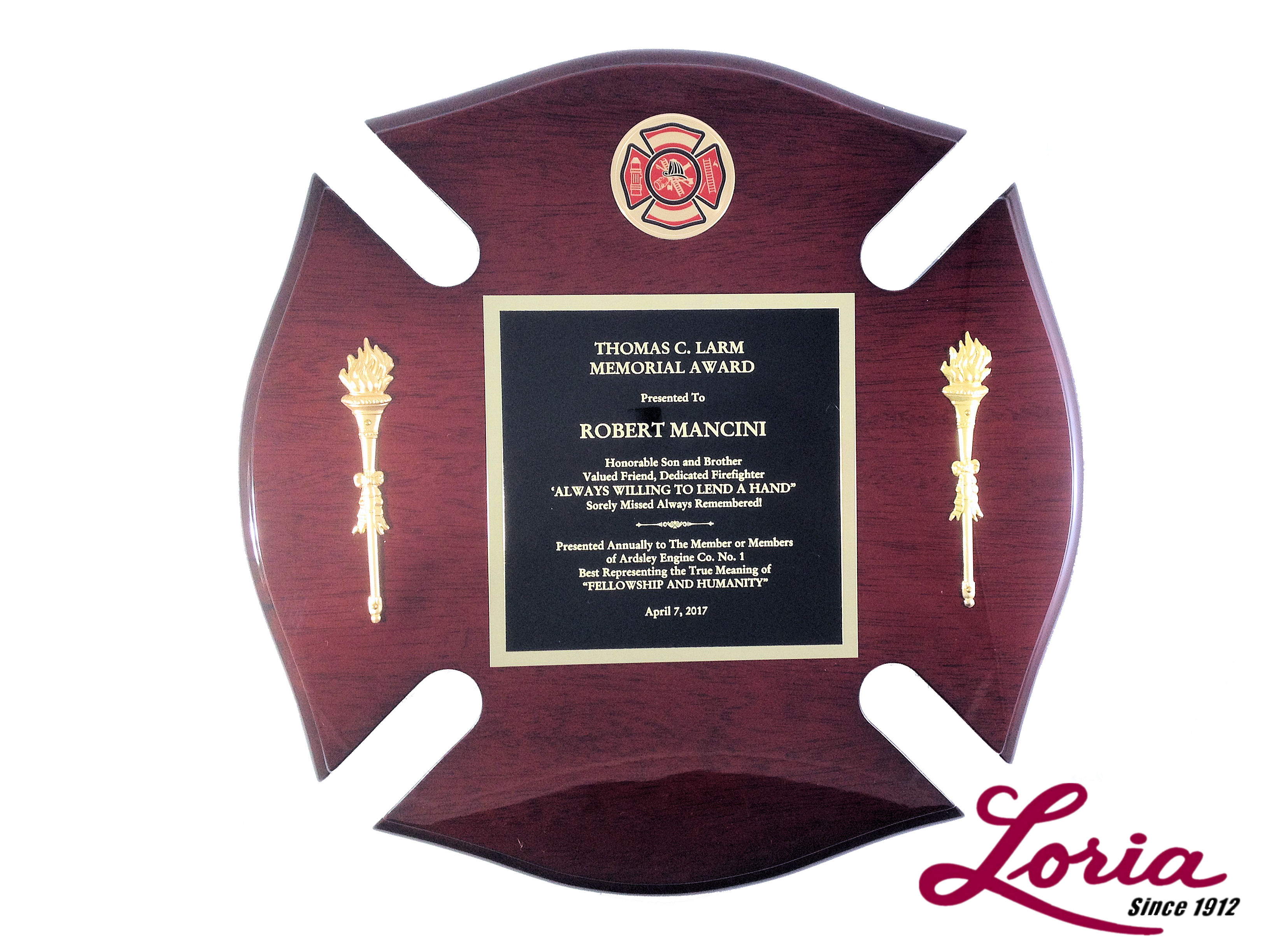 Maltese Cross Fire Departmentfire Fighter Award Plaque At Loria Awards