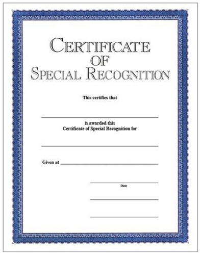 certificate of special recognition blue border c10518bl loria awards