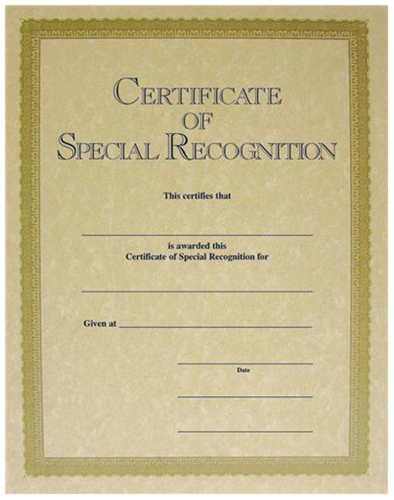 certificate of special recognition gold parchtone c10518go loria
