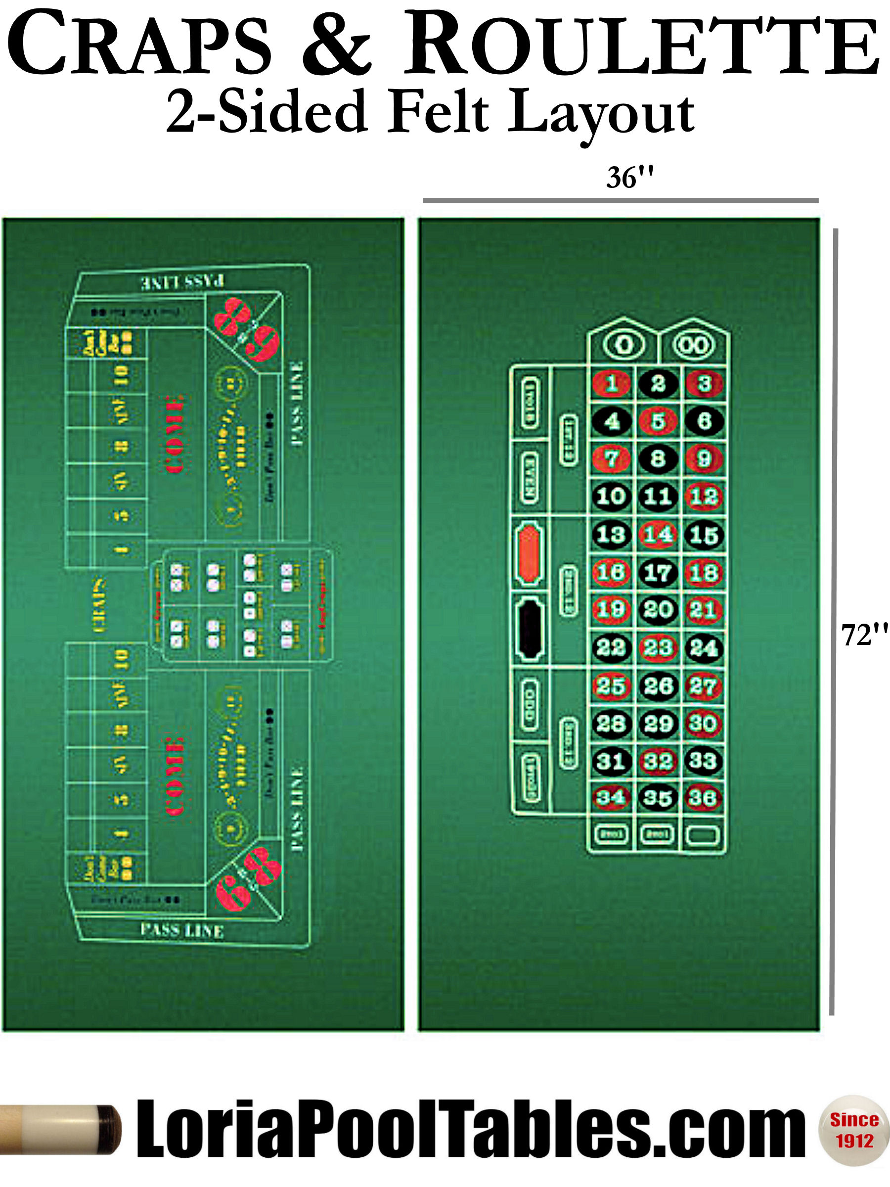Craps Amp Roulette 2 Sided 36 Quot X 72 Quot Felt Layout Loria Awards