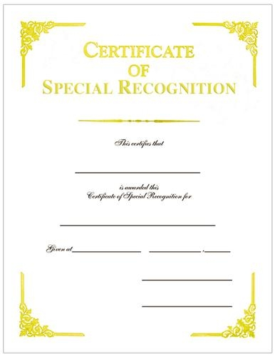 certificate of special recognition gold foil cover weight white
