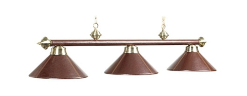 Brown Leather With Antique Brass Accents Pool Table Light Fixture