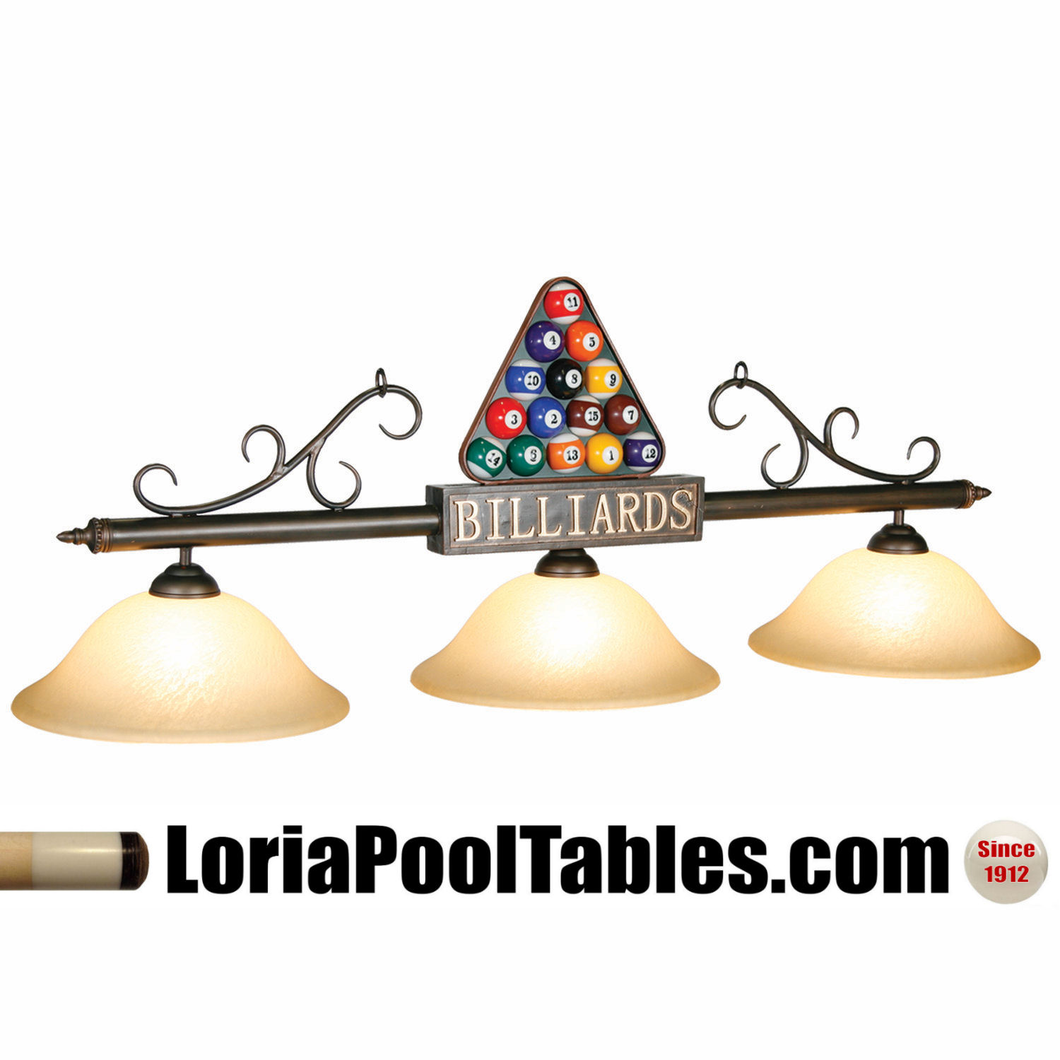 56'' Billiards Rack'em Up Glass Shade Pool Table Light