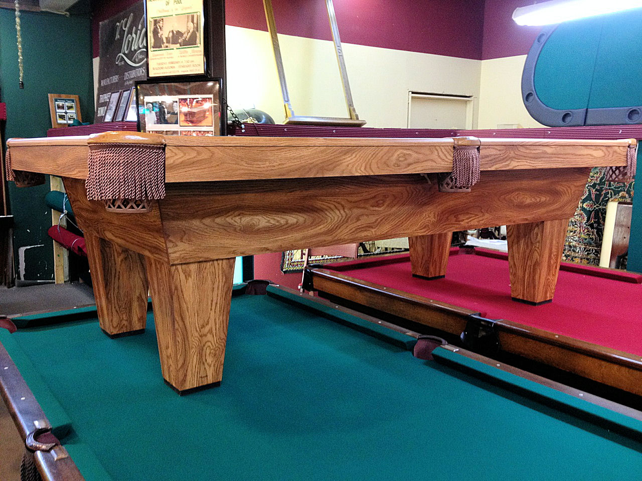 SOLD   MARCH MADNESS SALE Pre Owned Oak Finish Brunswick 8ft. Pool Table