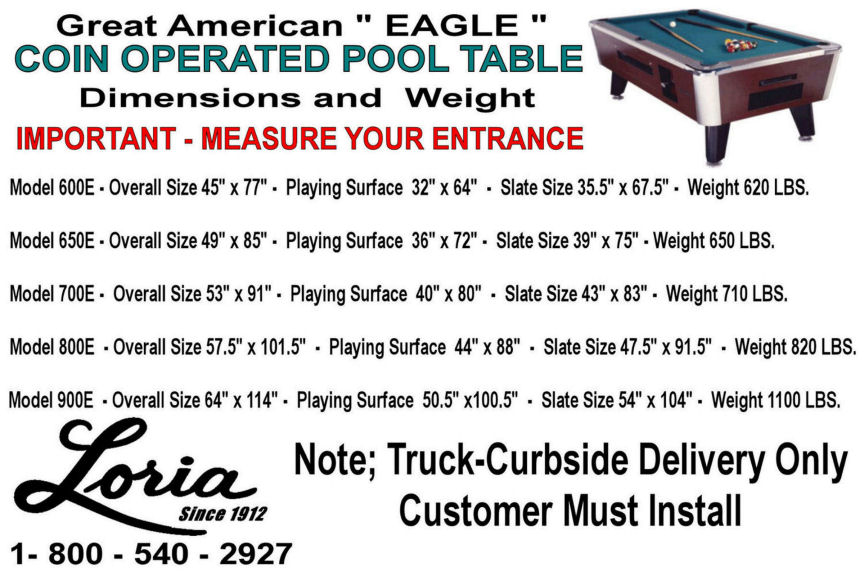 Great American Coin Operated Eagle Pool Table Loria Awards - Pool table slate size