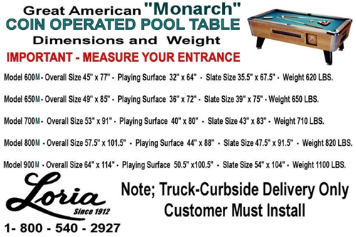 Great American Coin Operated Monarch Pool Table Loria Awards - Pool table slate size