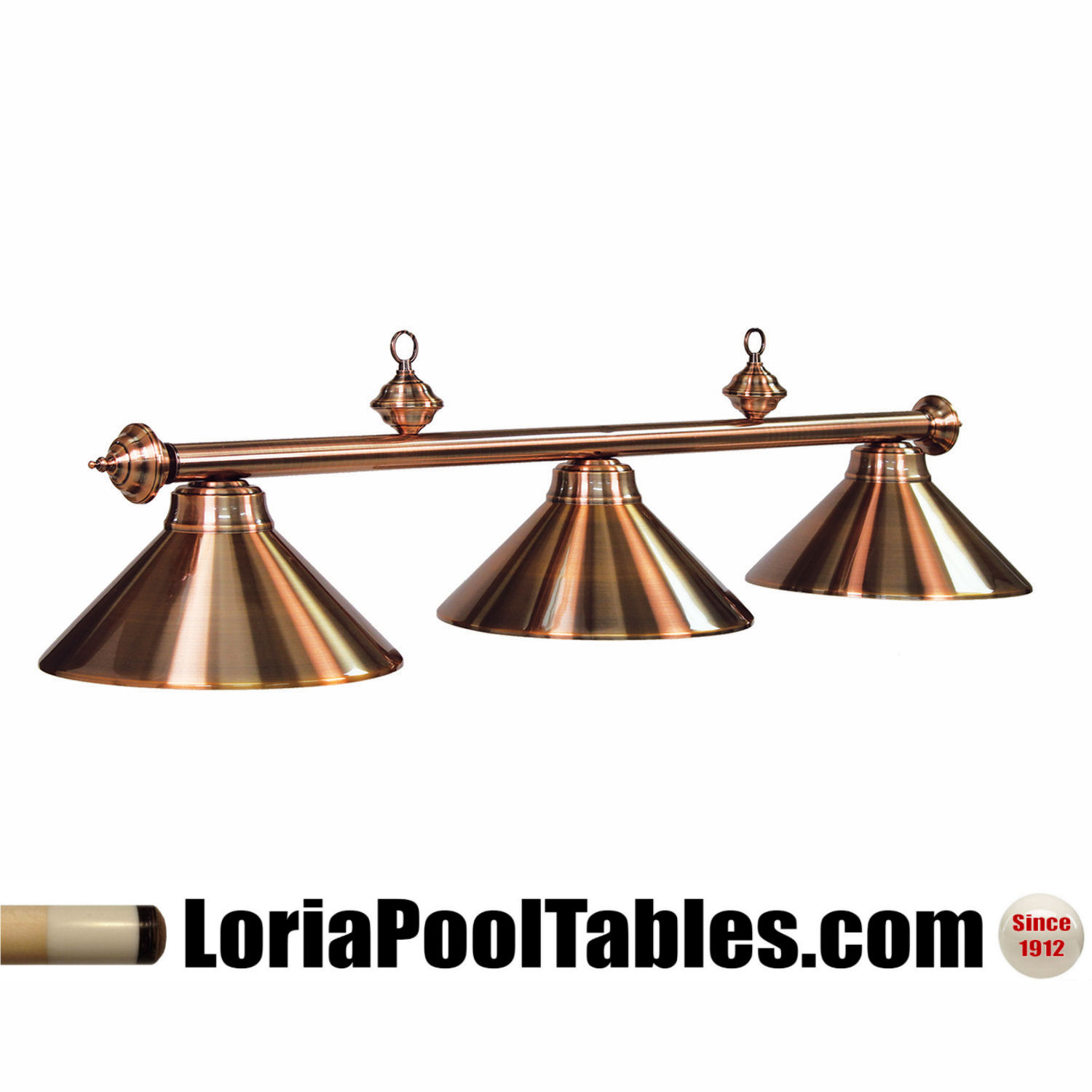 54'' Metal Shade Antique Copper Finish Pool Table Light