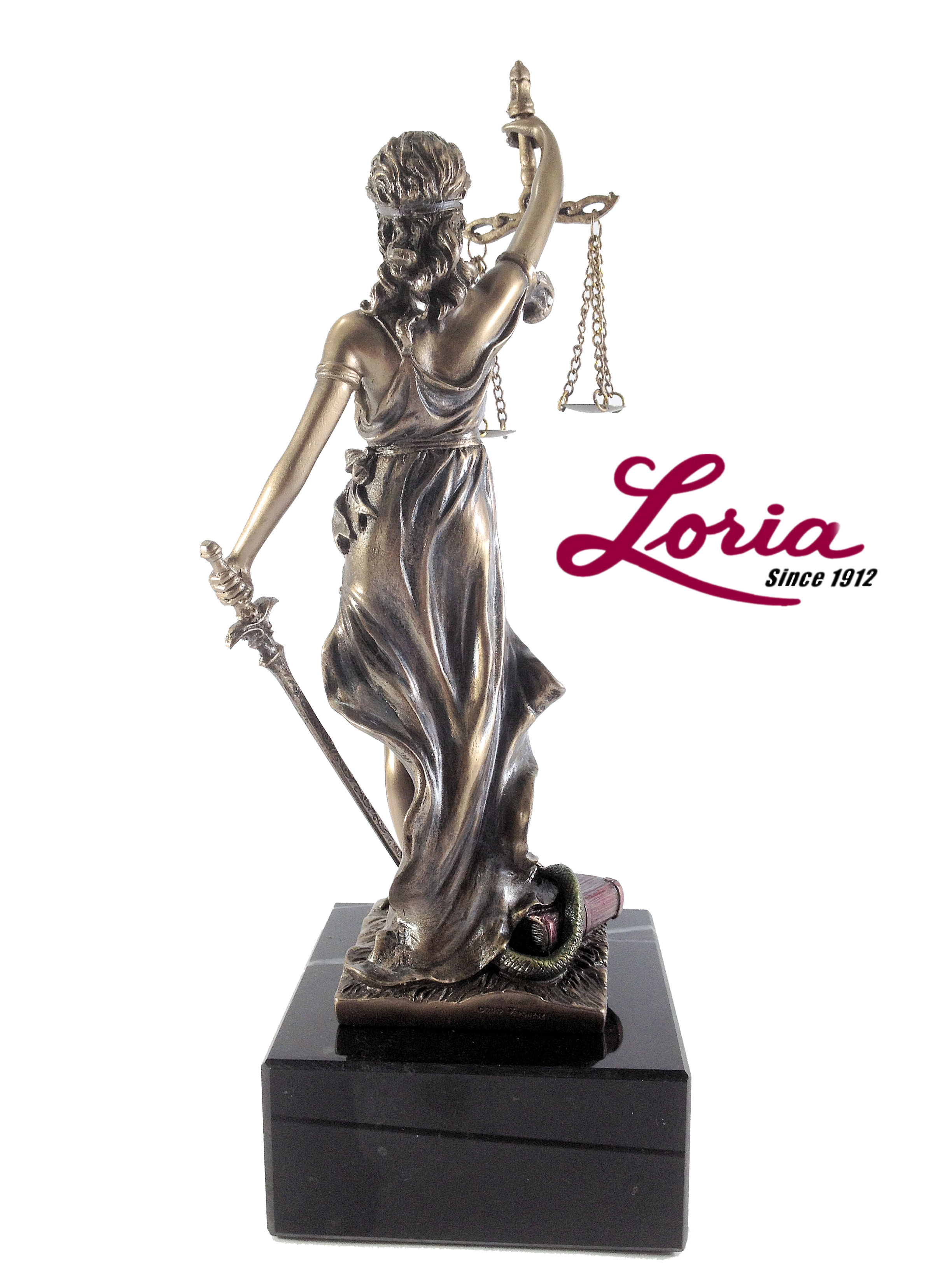 Lady Justice with scales of justice statue @ Loria Awards