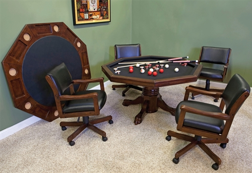 54 3 in 1 Gametable Set with 4 Optional Rocker Swivel Chairs